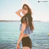 泳衣女日系比基尼分體荷葉邊小胸聚攏顯瘦【聚寶屋】