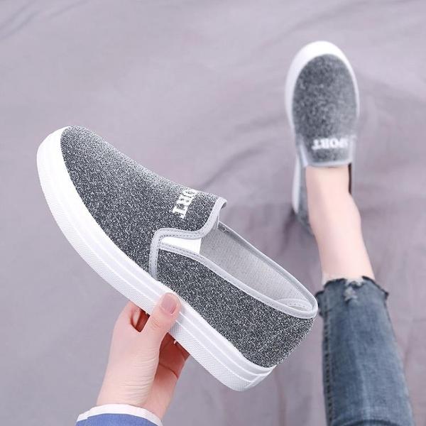 老北京布鞋女鞋秋季平底單鞋百搭一腳蹬休閑懶人學生板鞋女帆布鞋 伊蒂斯