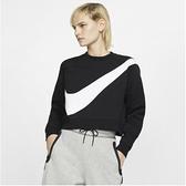 NIKE服飾系列-NSW SWSH CREW FLC BB 女款黑色短版毛絨運動衫 BV3934011