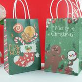 【BlueCat】聖誕節綠底拐杖糖襪子雪人 手提袋 紙袋