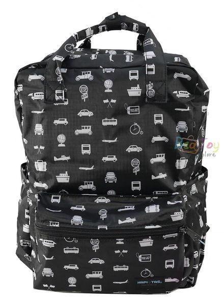 HAPI+TAS 摺疊手提後背包 - 黑色交通運輸