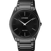 CITIZEN 星辰 Eco-Drive 光動能紳士薄型手錶-黑/38mm AR3079-85E