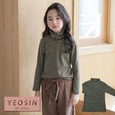 女童上衣 純棉高領條紋長袖T恤 韓國外貿中大童 QB allshine