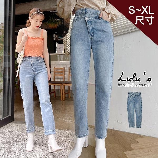 LULUS特價【A04210011】K自訂款交錯褲頭牛仔長褲S-XL藍