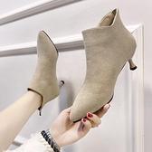 高跟短靴 尖頭切爾西短靴女2021秋冬季新款細跟百搭英倫風復古瘦瘦高跟裸靴 薇薇