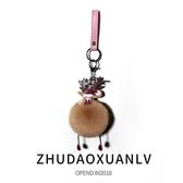 圣誕款可愛毛絨毛球汽車鑰匙扣掛件掛飾創意包包掛件車鑰匙圈鏈女