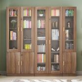 辦公室文件櫃木質檔案櫃資料櫃帶玻璃門書櫃書架簡約現代儲物櫃子  科炫數位