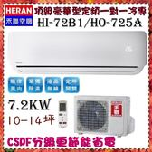 CSPF分級【HERAN 禾聯】7.2KW 10-14坪 一對一 定頻單冷空調《HI-72B1/HO-725A》全機3年壓縮機10年保固