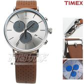 TIMEX 天美時 網點 三眼計時真皮手錶 多功能錶 學生錶 男錶 女錶 白x咖啡色 TXTW2R79900