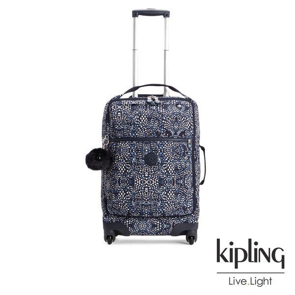 Kipling 奇幻藍羽斑紋21吋舒適提把實用登機箱-DARCEY(無提供超商取貨服務)