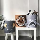 家用兒童圖案玩具收納筐可水洗毛氈小中號臟衣籃【淘夢屋】