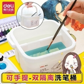 洗筆桶 二合一多功能小號水桶兒童美術生水粉繪畫水彩畫畫專用工具便攜大號涮筆筒