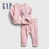 Gap嬰兒 保暖內刷毛長袖家居服套裝 650145-淡粉色