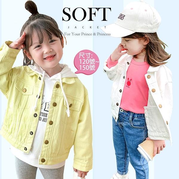簡約翻領金屬釦長袖上衣外套-2色(300149)【水娃娃時尚童裝】