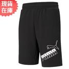 【現貨】PUMA Big Logo 男裝 短褲 10吋 棉質 休閒 訓練 健身 黑 歐規【運動世界】58577501