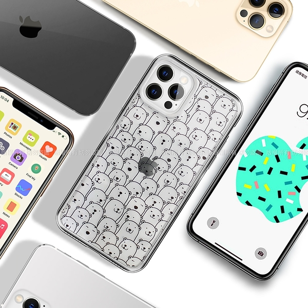 MOOTUN for iPhone 12 / 12 Pro 6.1 防護晶透保護殼- 滿版線條熊熊 / 滿版線條貓-藍 請選款式