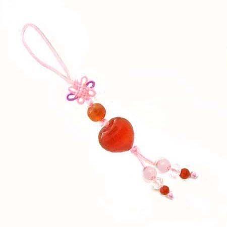 紅瑪瑙心型中國結吊飾
