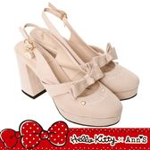 HELLO KITTY X Ann'S毛茸茸精緻金吊飾蝴蝶結拉帶露後跟粗跟鞋-粉杏