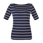 【南紡購物中心】Ralph Lauren 經典刺繡船領條紋五分袖上衣-午夜藍
