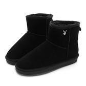PLAYBOY 陽光雪戀 皇冠織標短筒雪靴-黑(Y3833)