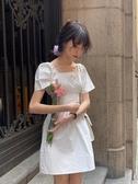 抹胸洋裝 馨幫幫 自制春季抹胸平領泡泡短袖黑色連身裙夏日閨蜜裝短裙女 夏季上新