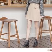 《CA2107-》韓系造型綁結純色A字短褲裙 OB嚴選