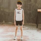 男童背心套裝2020新款春裝韓版潮衣兒童裝春季無袖男孩帥氣兩件套 美芭