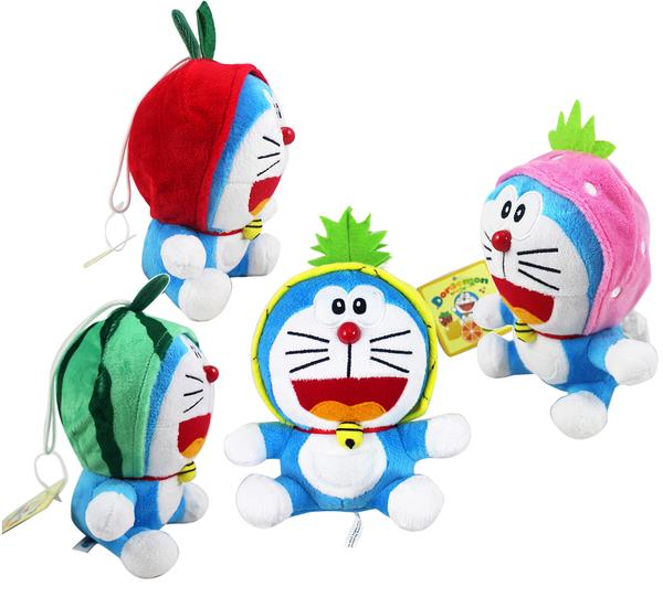 【卡漫城】 哆啦A夢 玩偶 水果 派對四入組 ㊣版 Doraemon 絨毛 娃娃 小叮噹 多拉 吊飾 造型 擺飾