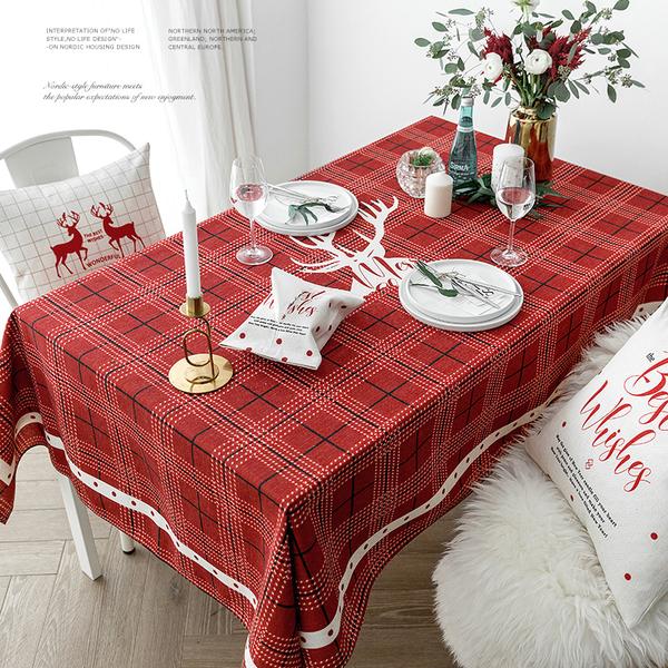 北歐紅色格子喜氣桌布 (120*170cm) 長方形茶几布 新年桌巾
