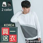 韓國製細條紋圓領長T【BM81】OBIYUAN 獨家專櫃黑白配色長袖上衣 共2色