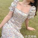 法式桔梗裙女夏季收腰顯瘦氣質輕熟碎花洋裝性感一字肩超仙裙子小艾新品