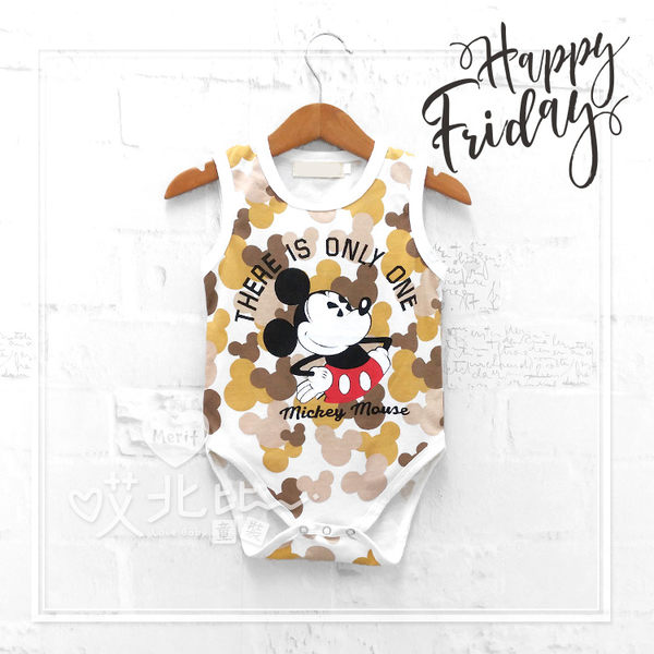 卡通米老鼠迷彩風包屁衣 可愛 迷彩 寶寶 男童 棉質 米奇 美式