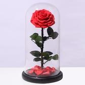 進口永生花禮盒玻璃罩藍色妖姬玫瑰花束七夕情人節禮物送女友Mandyc