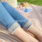 加絨牛仔褲女修身小腳藍色顯瘦長褲2021冬季新款彈力外穿加厚褲子 新年禮物