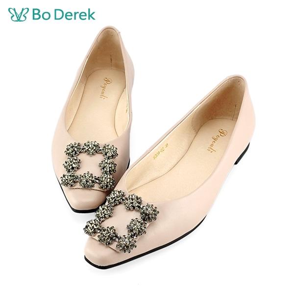 Bo Derek 典雅方鑽平底包鞋-粉色