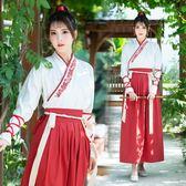 古裝女漢服飄逸學生長款齊腰襦裙武俠紅色漢元素情侶漢服女中國風