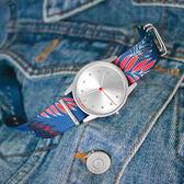 HyperGrand  / NW01PALM / 新加坡品牌 鄉村棕櫚 首創印花設計 極簡面板 尼龍手錶 銀x藍紅 38mm