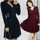 中大尺碼洋裝 V領性感加厚針織棉顯瘦連身裙 2色 L-5XL #wm233 ❤卡樂store❤