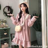 春韓版新款寬鬆格子中長款魚尾洋裝女燈籠長袖打底裙學生夏艾美時尚衣櫥