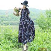 實拍民族風復古印花棉麻寬鬆大尺碼連身裙袍子裙