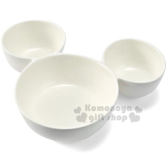 〔小禮堂〕迪士尼 米奇 陶瓷造型碗《白.大臉.三格》 4942423-23928