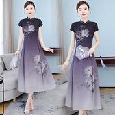 洋装 中大尺碼 2021年新款改良版旗袍連身裙夏季中國民族風真絲桑蠶絲女裝裙子