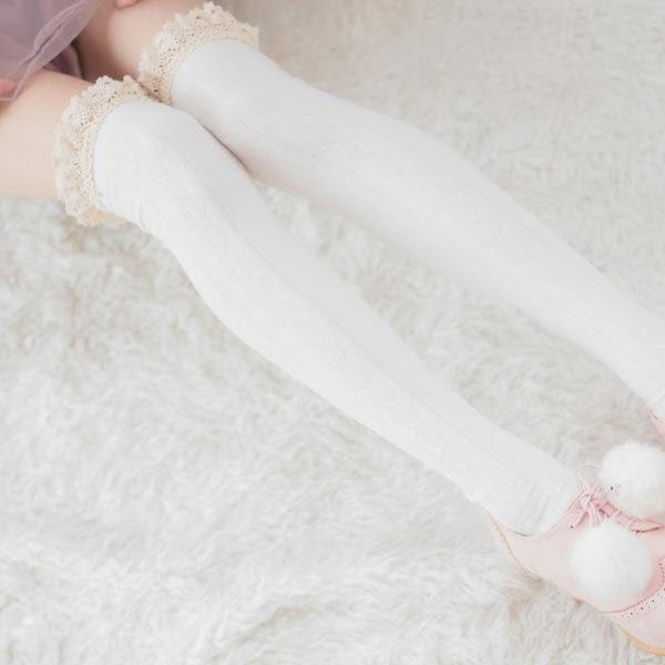 襪子 蕾絲滾邊麻花中筒膝上大腿襪-Ruby s 露比午茶