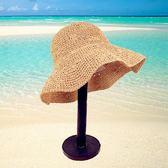 手工編織鉤針草帽 鏤空可折疊大沿海邊沙灘遮陽帽m14