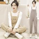 新款秋季吊帶褲女韓版寬鬆顯瘦修身小個子吊帶褲子牛仔褲套裝 一米陽光