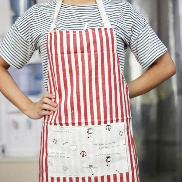 週年慶優惠-時尚條紋 廚房圍裙 家居無袖