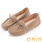 ORIN 經典復古時尚 真皮手縫平底帆船鞋-灰色