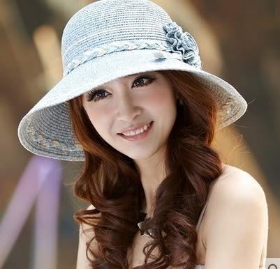 草帽女花朵顯瘦遮陽帽防曬沙灘帽大沿太陽帽    -com10020