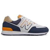 New Balance 574 男鞋 慢跑 復古 色塊拼接 麂皮 藍 白【運動世界】ML574SUR