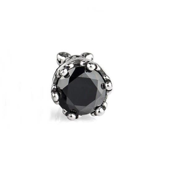 316L醫療鋼 皇冠塔  6mm黑瑪瑙 旋轉式耳環-銀 防抗過敏 單支販售
